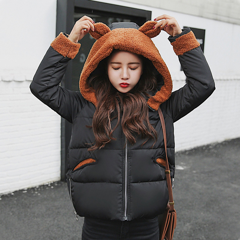 New Warm Cute Cptton 2017 Black And Yellow Autumn Winter Women Coat Jackets Puffer   Parkas   Mujer Invierno Student Girl Young