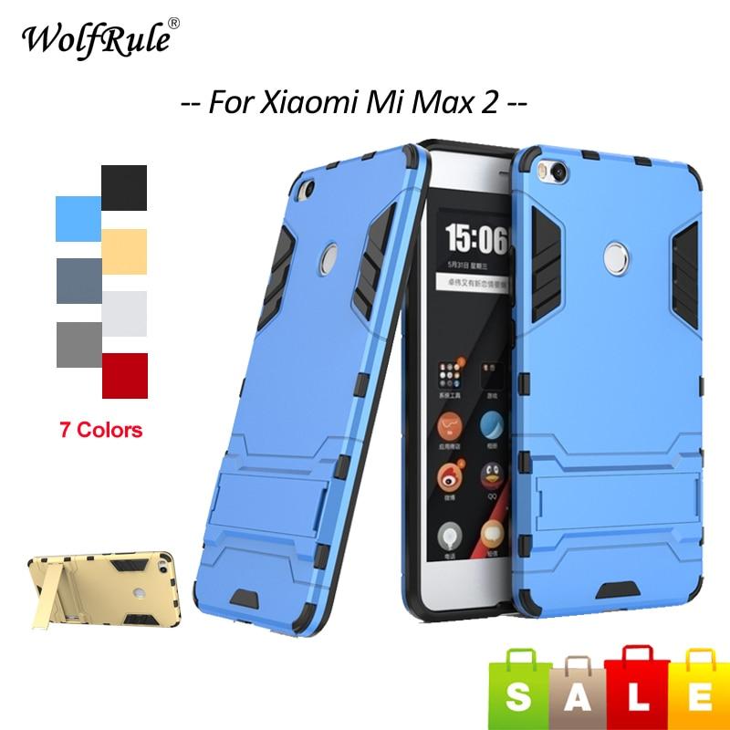 2 Para Capa Xiao mi mi mi Max Max 2 Caso Silicone & PC Stand Anti bater Caixa Do Telefone Para xiao mi mi Max 2 Coque Capa WolfRule