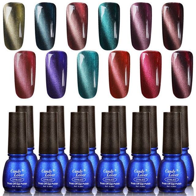 Candy Lover 12 pcs/set 3D Magnetic Gel Nail Polish Amazing Cat Eyes Effect 8ml LED/UV  Easy Soak Off gel polish +1 pcs magnet