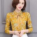 Женщины Печати Блузки 2017 Весна Blusas Лук Шифон С Длинным Рукавом Плюс Размер Рубашки Блузка Женщины повседневные Топы Рубашки Femal мода