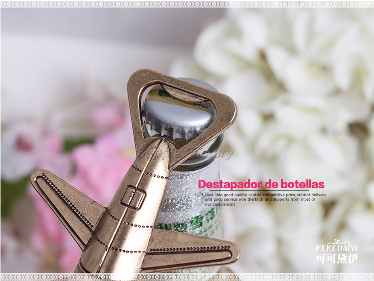 Image 4 - 50pcs/lot Free Shipping Antique Air Plane Airplane Shape Wine Beer Bottle Opener Metal Openers For Wedding Party Gift Favors-in Openers from Home & Garden