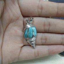100% 925 Sterling Silver Pendant with Natural Larimar Pendant Genuine Stone Conch Charm Pendant for Women Gift