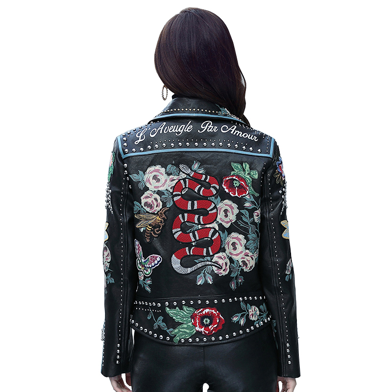 Chic Rivet Embroidery Genuine   Leather   Jacket 2019 Fashion Slim Short Motorcycle   Leather   Jacket High-end Really Sheepskin Jacket