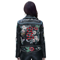 Europe Style Vogue Chic Rivet Embroidery Female Jacket Short Motorcycle Leather Jacket High end Really Leather Jacket For Women