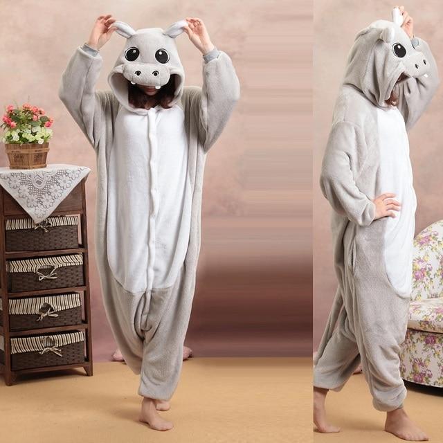 kigurumi hippo long sleeve hooded homewear pajamas One-piece animal pajamas kigurumi for adults Flannel warm pijama animales