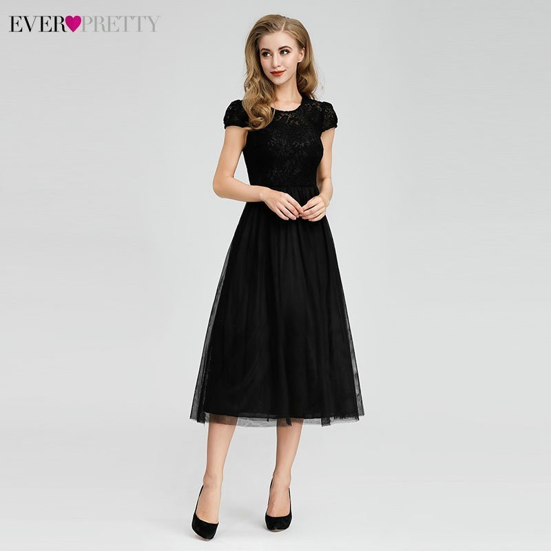 Ever Pretty Black Bridesmaid Dresses Short Sleeve A-Line O-Neck Elegant Formal Wedding Guest Dresses Robe Longue Dentelle 2020