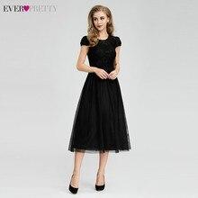 Kiedykolwiek całkiem czarny sukienki druhen z krótkim rękawem line O Neck eleganckie formalne suknie ślubne gości szata Longue Dentelle 2020
