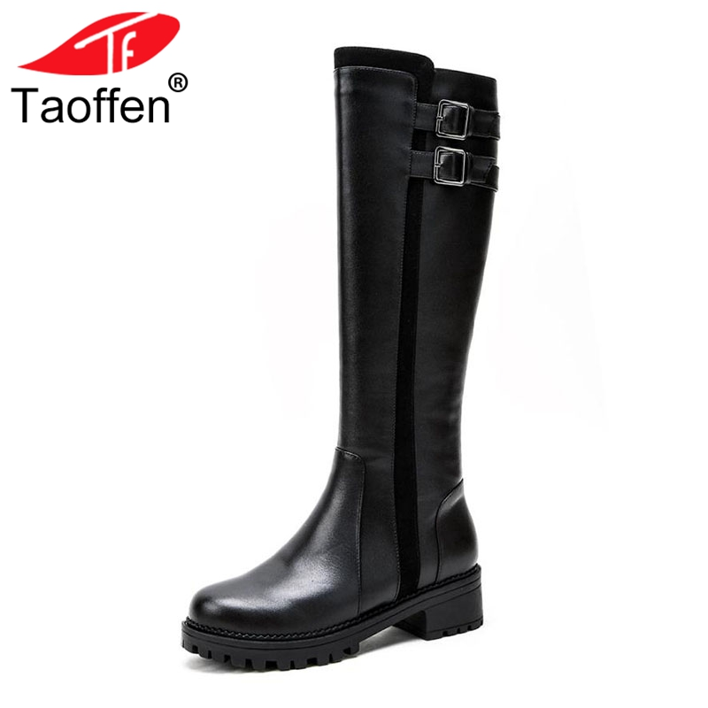 Taoffen Women Knee High Boots Genuine Leather Winter Shoes Women Buckle Warm Fur Flats Boots Designer Riding Shoes Size 34-39 taoffen luxury women genuine leather mid calf boots winter plush fur warm shoes women gothic buckle flats boots size 34 39