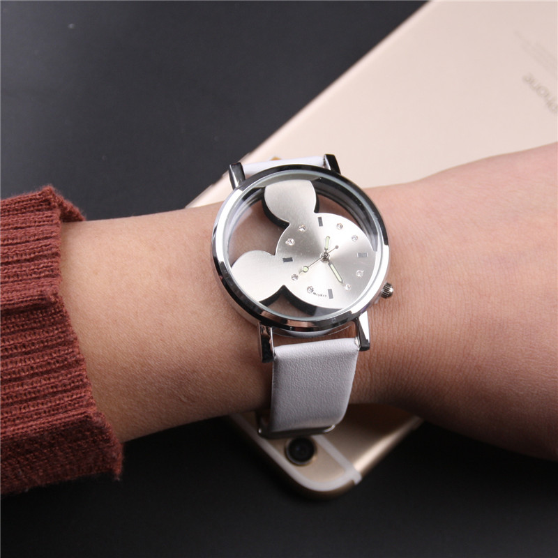 2019 Montre Femme Hot Selling Personality Trend Mickey Mouse Double-sided Hollowed Children's Leather Watch Relogio Feminino(China)