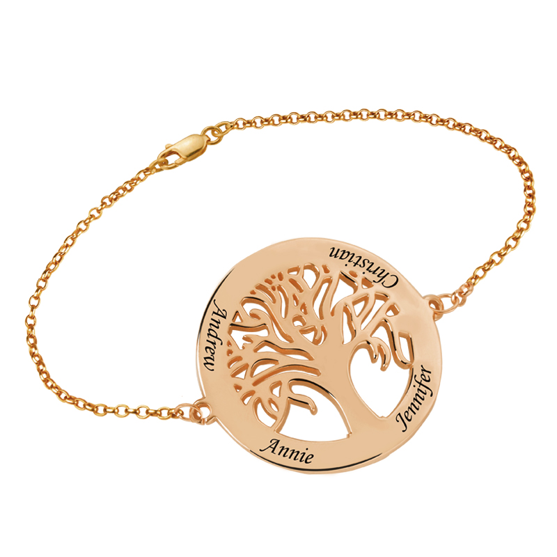 Customized Family Tree Bracelet Rose Gold Color Engraved Name Tree of Life Bracelet for Her engraved life tree round jewelry set