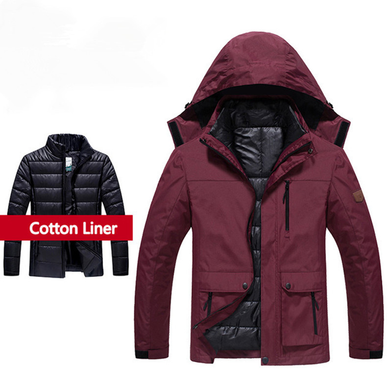 Men's Winter 3 In 1 Jackets Outdoor Camping Waterproof Thermal Climbing Hiking Hooded Coat Male Hunting Fishing Plus Size L-6XL manli outdoor hiking jackets 2018 winter coat male parka men thick warm wool liner hooded collar plus size 6xl jacket men coat