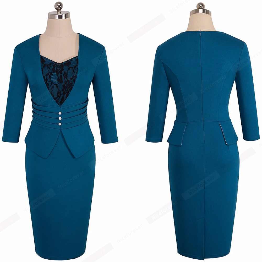 ワンピースフォーマル着用 V ネックレースドレープ真珠-ホワイトボタン鉛筆オフィスの女性の膝丈ジップバック包帯ドレス HB361