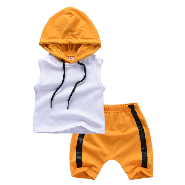 Vest Hooded Tops Shorts Set