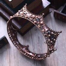 Baroque Vintage Noir Strass Perles Ronde Grande Couronne De Cheveux De Mariage Accessoires Cristal De Luxe Reine Roi Couronnes De Mariée Diadèmes