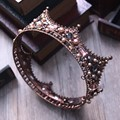 Barroco de La Vendimia Negro Granos Del Rhinestone Redondo Grande Corona Pelo de La Boda Accesorios de Cristal de Lujo Reina Rey Coronas de Novia Tiaras