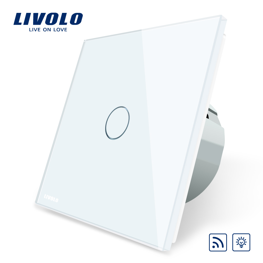 Free Shipping Livolo EU Standard Switch VL C701DR 11 White Crystal Glass Panel AC 110 250V