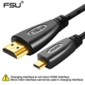 Premium version Gold Plated 3D 1080P hdmi to micro hdmi D type male to hdmi male cable for mobile phone, camera,GoPro