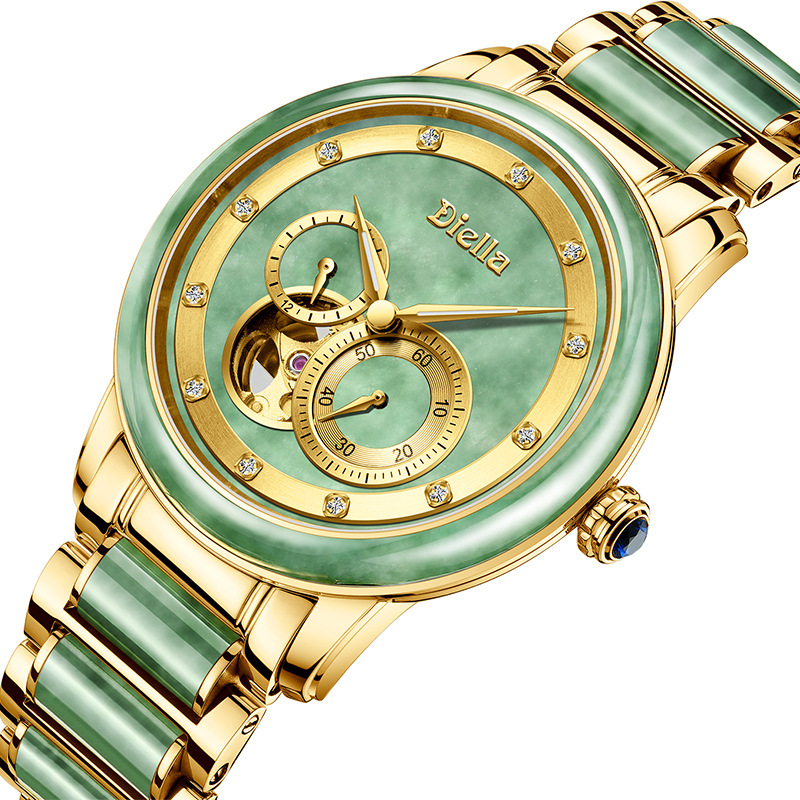 Hetian Jade Automatic Mechanical Watch Men Stop Watch Jade Stainless Steel Strap Gold Hollow Watches Mens Waterproof LuminousHetian Jade Automatic Mechanical Watch Men Stop Watch Jade Stainless Steel Strap Gold Hollow Watches Mens Waterproof Luminous