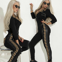 Fashion Elegant Bomber Jacket Romper Letter Printed Jumpsuit Turn down Collar Long Sleeve Zipper Playsuit Women Sexy Legging Set