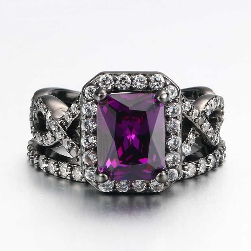 สีดำแหวนเงินชุดสีขาวสีม่วงสีสแควร์ Zircon ใหม่แฟชั่นเครื่องประดับของขวัญเจ้าหญิงหมั้นแหวน