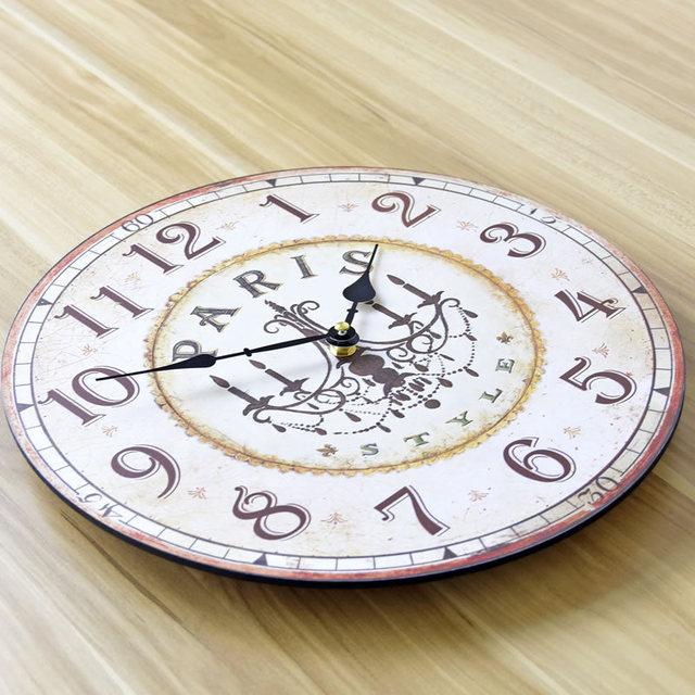 PARIS Retro Nostalgia Large Wall Clock Europe Wood Circular art Digital Needle Clocks Home Decor