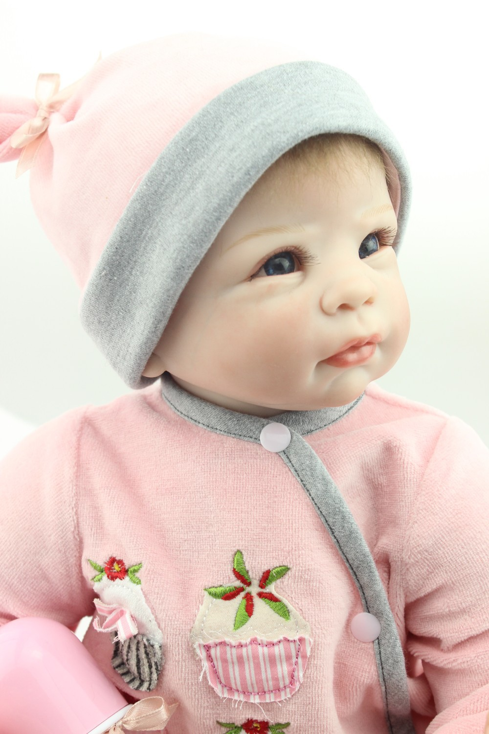 NPKCOLLECTION reborn doll with soft real gentle  touch free shipping 22inch reborn baby doll lifelike soft silicone vinyl npkcollection fashion reborn baby doll 22 with free pacifier safe soft silicone model baby reborn with clothes kits xmas gifts
