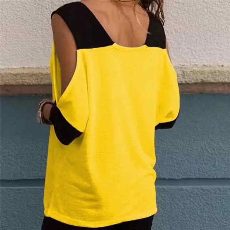 U-SWEAR Vrouwen Zomer Patchwork Koude Schouder T-Shirt Tops T Shirt Vrouwen V-hals Top Tees Feminina Camiseta Blusas