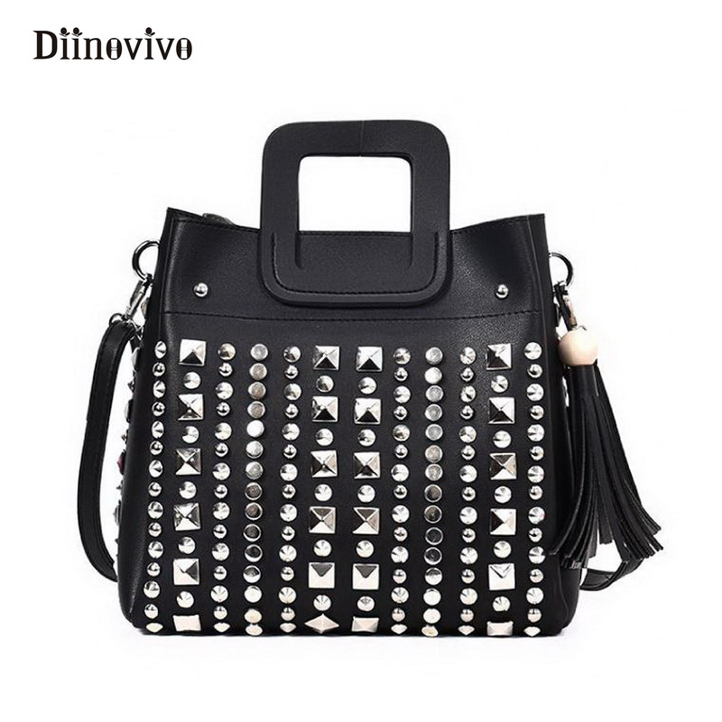 DIINOVIVO Fashion Punk Handbag Women Tassel Composite Bag Luxury Leather Rivet Message Bags Rock Designer Female Totes WHDV0002