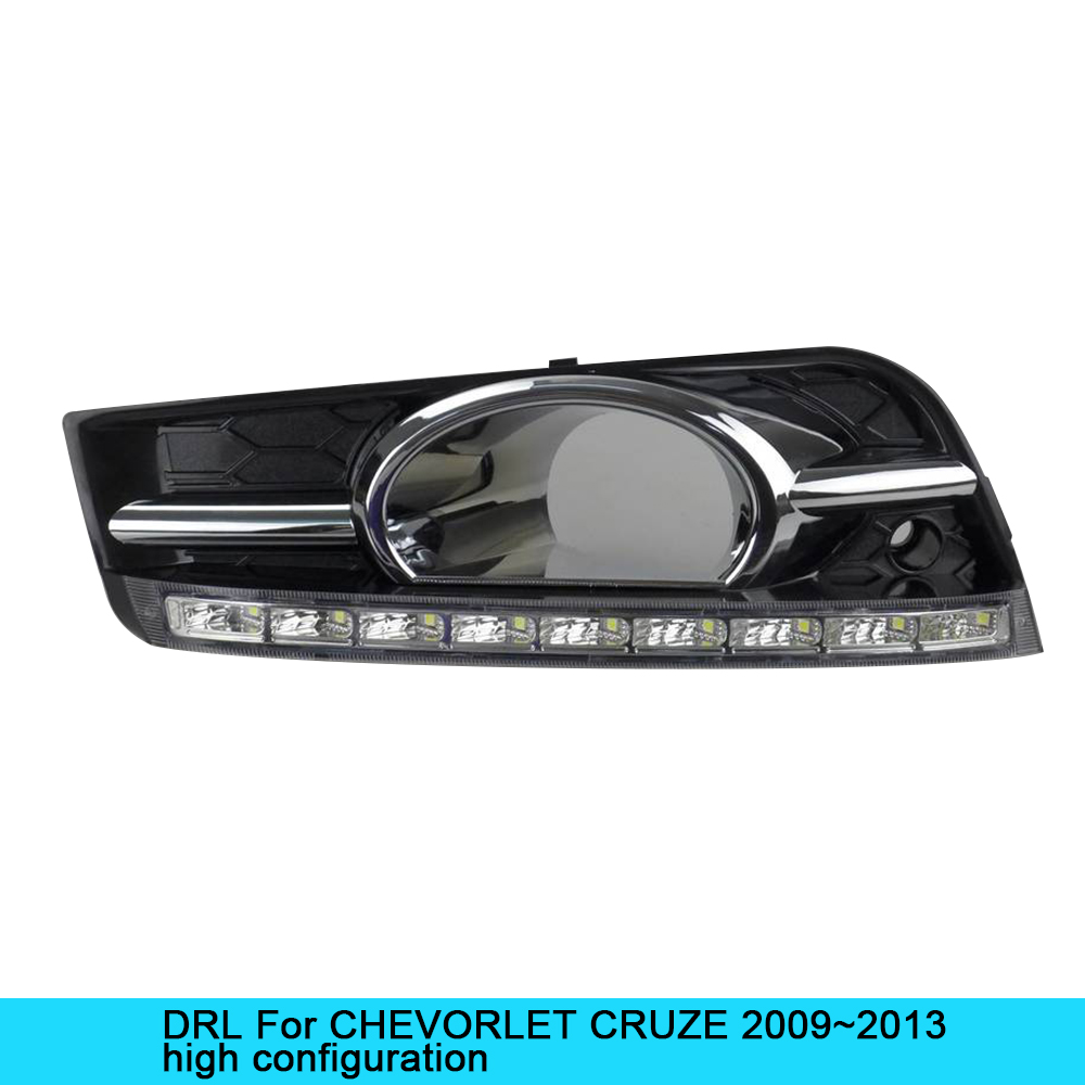 NEW Car DRL kit for CHEVORLET CRUZE 2009~2013 LED Daytime Running Light bar Super bright fog auto lamp daylight car led drl 12v car drl kit for audi a4 l b8 2009 2012 led daytime running light bar super bright auto fog lamp daylight for car led drl light