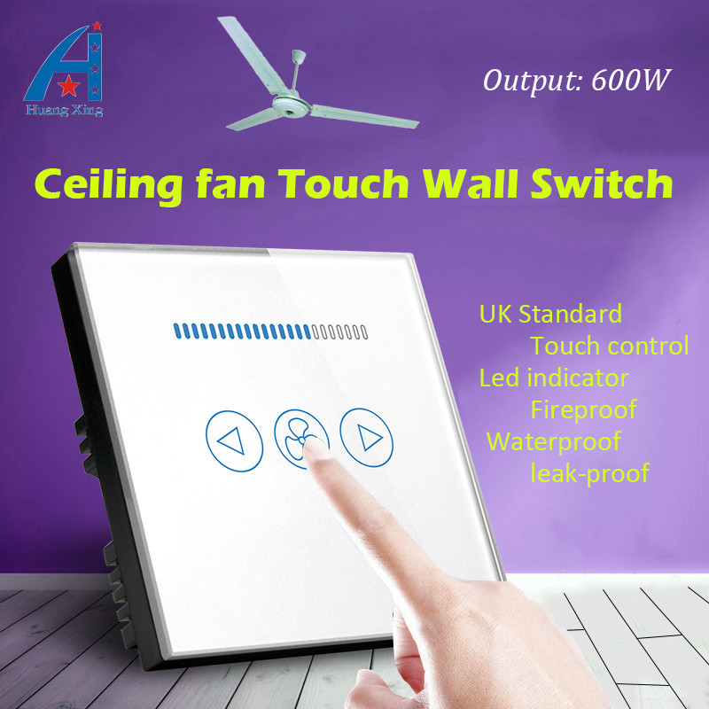 UK standard New 600W Home ceiling fan Switch, Crystal Glass Panel, Fan Speed Regulation Wall touch Switch, With Led indicator eu us smart home remote touch switch 1 gang 1 way itead sonoff crystal glass panel touch switch touch switch wifi led backlight