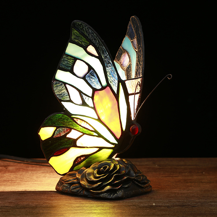 TUDA 12X23cm Free Shipping Creative Stained Glass Table Lamp Butterfly Shaped Table Lamp For Bedroom Living Room Table Lamp tuda free shipping glass table lamp european retro style table lamp creative nostalgic table lamp for bedroom bedside desk lamp