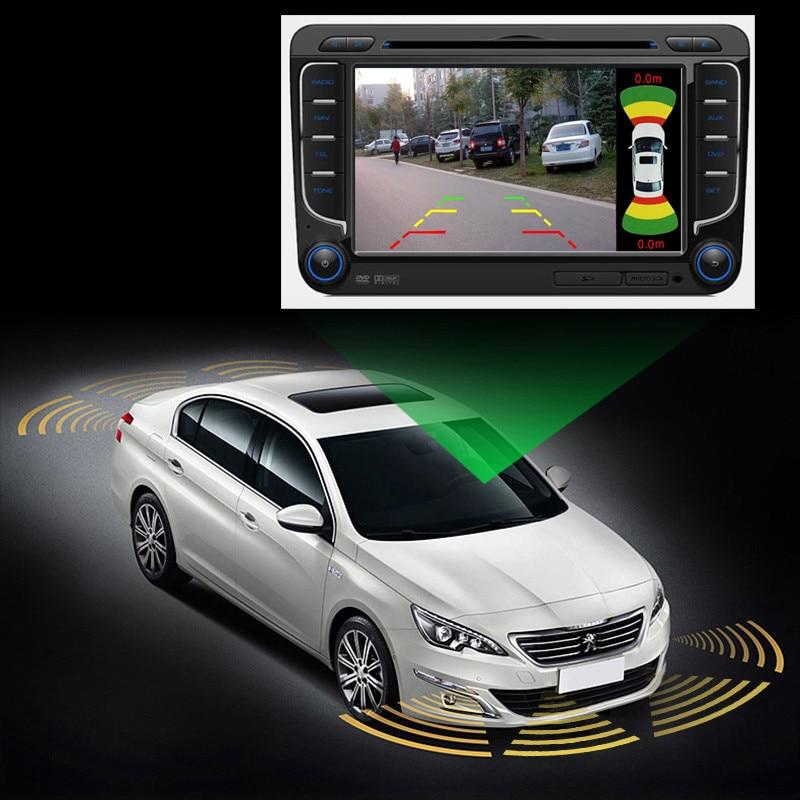 Dual Channel Auto Video OEM Parkplatz Radar Sensor Vorne Hinten 8 Sensoren 2 Video Kamera Eingang Für Auto Monitor Android DVD Player