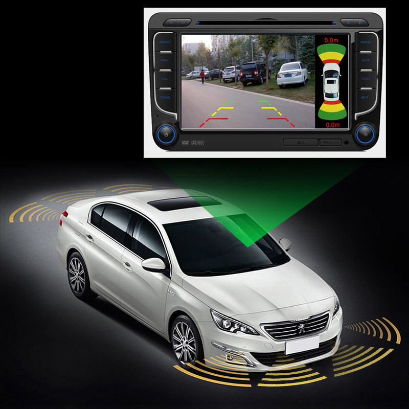 Dual Channel Car Video OEM Parking Radar Sensor Front Rear 8 Sensors 2 Video Camera Input For Car Monitor Android DVD Player