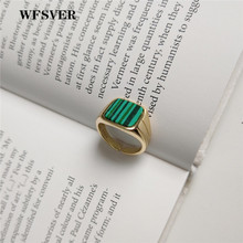 WFSVER 925 sterling silver ring for women korea style gold color with turquoise rings opening adjustable fine jewelry gift