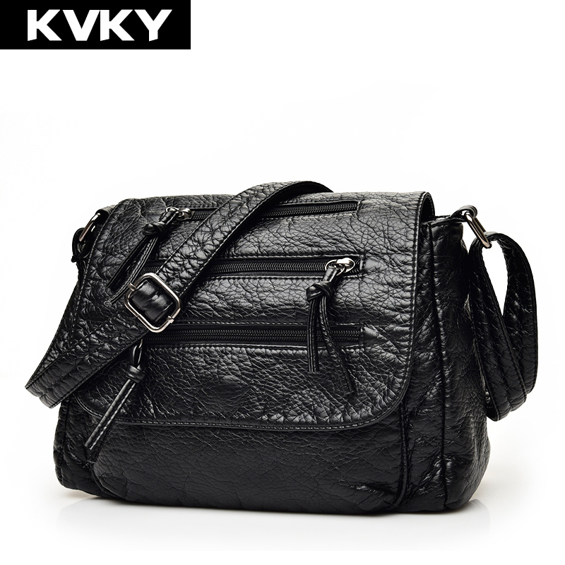 KVKY Brand Fashion Soft Leather Shoulder Bags Female Crossbody Bag Portable Women Messenger Bag Tote Ladies Handbag Bolsas new fashion women girl student fresh patent leather messenger satchel crossbody shoulder bag handbag floral cover soft specail