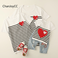 ChanJoyCC Family Matching Outfits T-shirt Summer New Fashion Mother Father Baby Boy Girl Short Sleeve Striped T-shirt cotton100%