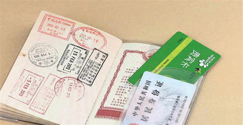 Kawaii Cartoon Bear Passport Cover Women Fashion Embossed PVC Leather Travel Passport Holder Case Credit Holder Bag 14*9.6cm