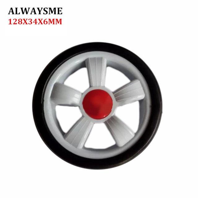ALWAYSME 1 piezas para cochecito de bebé para niños piezas de repuesto para ruedas de cochecito rueda delantera Universal diámetro de la rueda trasera 128mm ancho 34mm agujero de 6mm