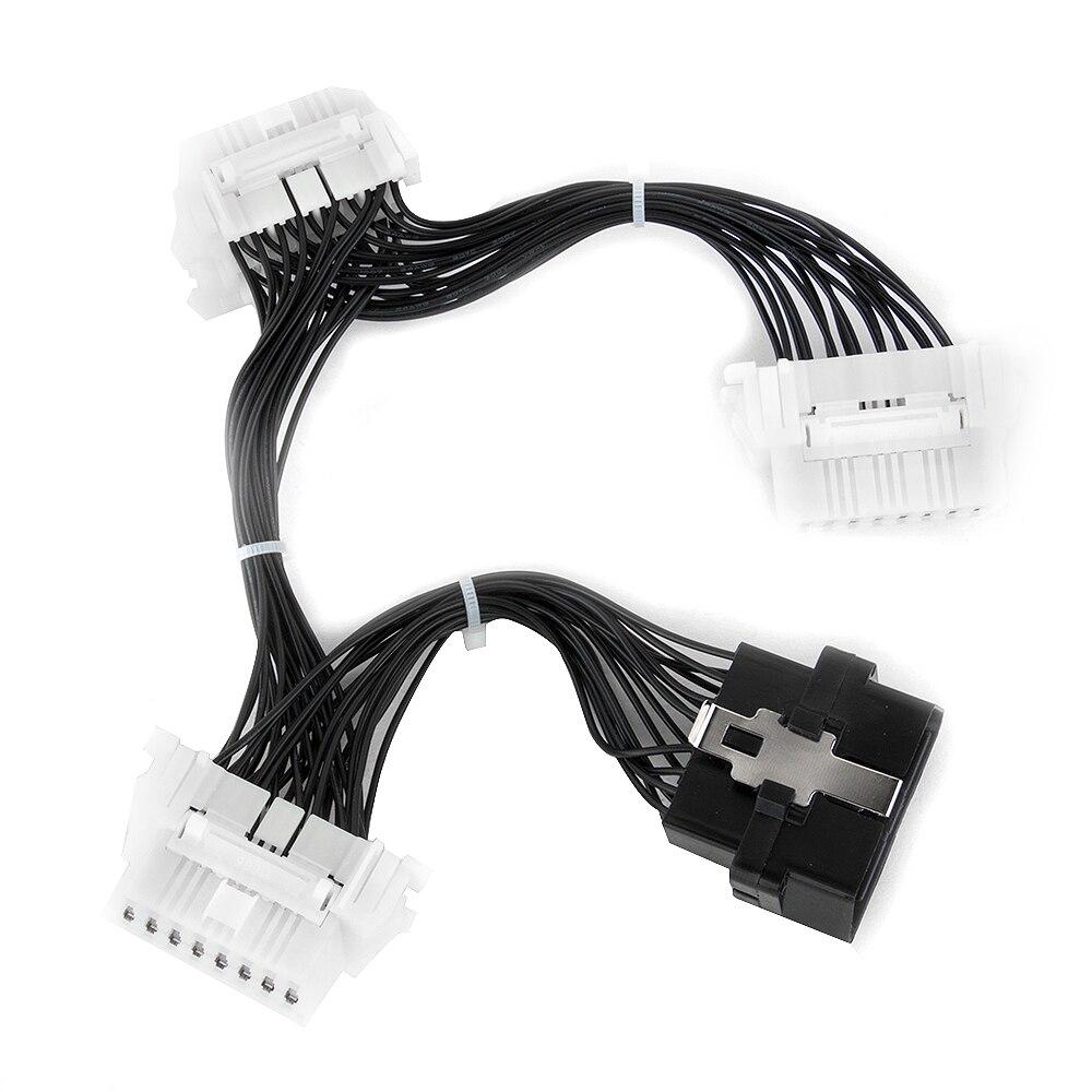 Prix pour KWOKKER OBD 2 Splitter Extension Y câble 1 To3 Femme 16 Pin Connecteur De Diagnostic 4 connecteurs