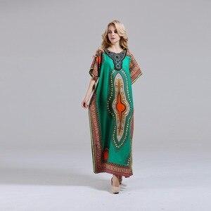 Image 4 - Dashikiage فستان داشيكي جديد أنيق للنساء 100% قطن أفريقي مطبوع ماكسي فيستدوس رداء أفريقي نسائي داشيكي