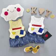 WYNNE GADIS Baby Boys Sets Sleeveless Cartoon Vest Tank Tops + Jeans Denim Shorts Kids Summer Sport Casual Tracksuits 2Pcs Suits