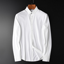 Camisa de hombre Minglu de algodón Spandex, Camisa Masculina de manga larga blanca, Camisa de vestir para hombre, Camisa de talla grande 4xl ajustada, Camisa informal para hombre