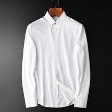 Minglu Spandex do Algodão camisa Dos Homens Camisa Masculina Branca de Manga Longa Dos Homens Camisa De Vestido Plus Size 4xl Slim Fit Camisa Casual homens