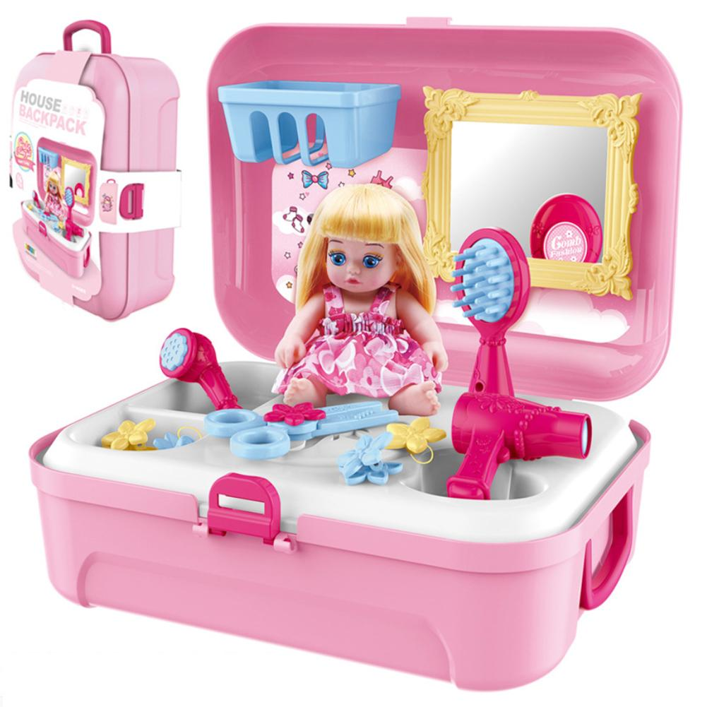 Kids Simulation Toy Set Baby Dresser Cosmetic Dress Up Girl House Makeup Toy Pretend Play Game Toys For Children Girls image
