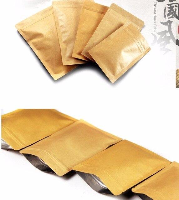 100 Papel Kraft Doypack Zip Lock Saco com Folha De Alumínio Chá Comida Lanche de Café Armazenamento Resealable Ziplock/Saco do zipper