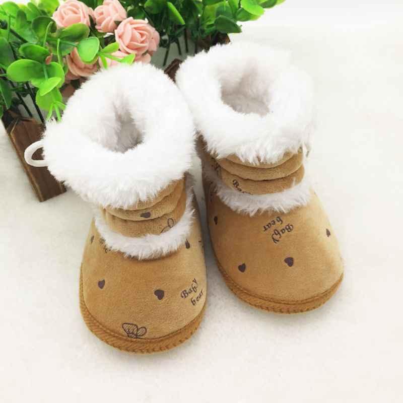 Popüler Ve Şık Bebek Bebek Kız Kış Kar Botları Bebek Katı bağcıklı ayakkabı Prewalker 0-18 Ay