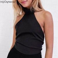 M H Artemis 2017 Sexy Backless Halter Crop Top High Neck Elegant Satin Tops Sleeveless Shirt