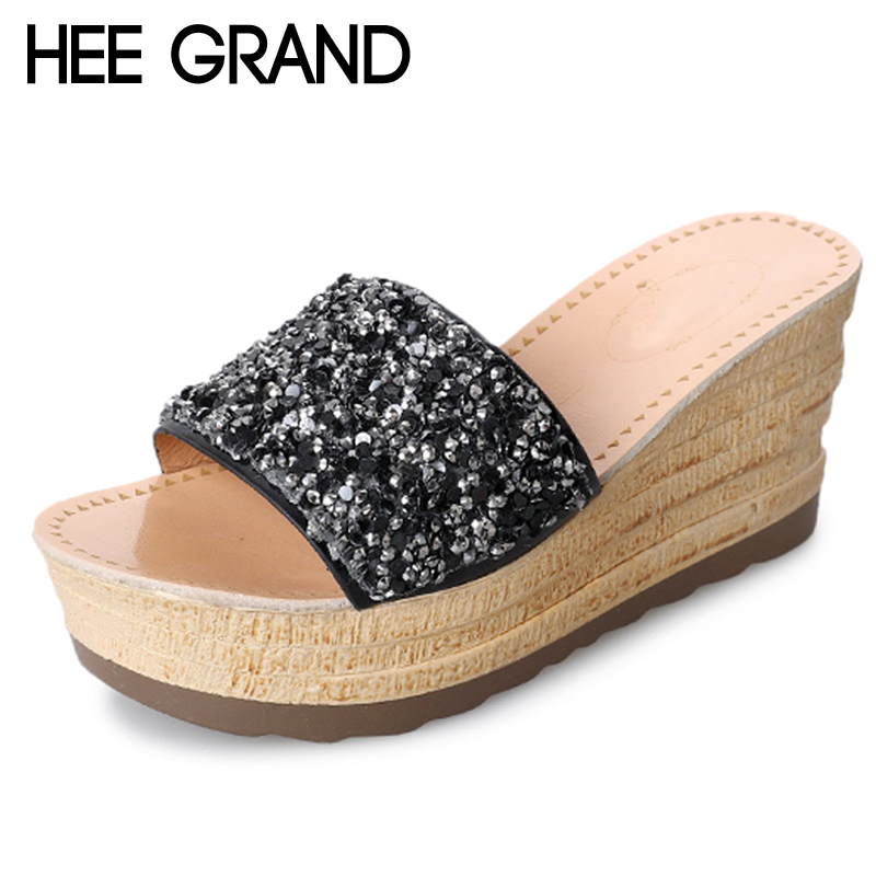 HEE GRAND Wedges 2018 Summer Creepers Glitter Platform Gladiator Slides Casual Shoes Woman Slip On Slippers Bling Flats XWD6367 hee grand summer gladiator sandals 2017 new platform flip flops flowers flats casual slip on shoes flat woman size 35 41 xwz3651