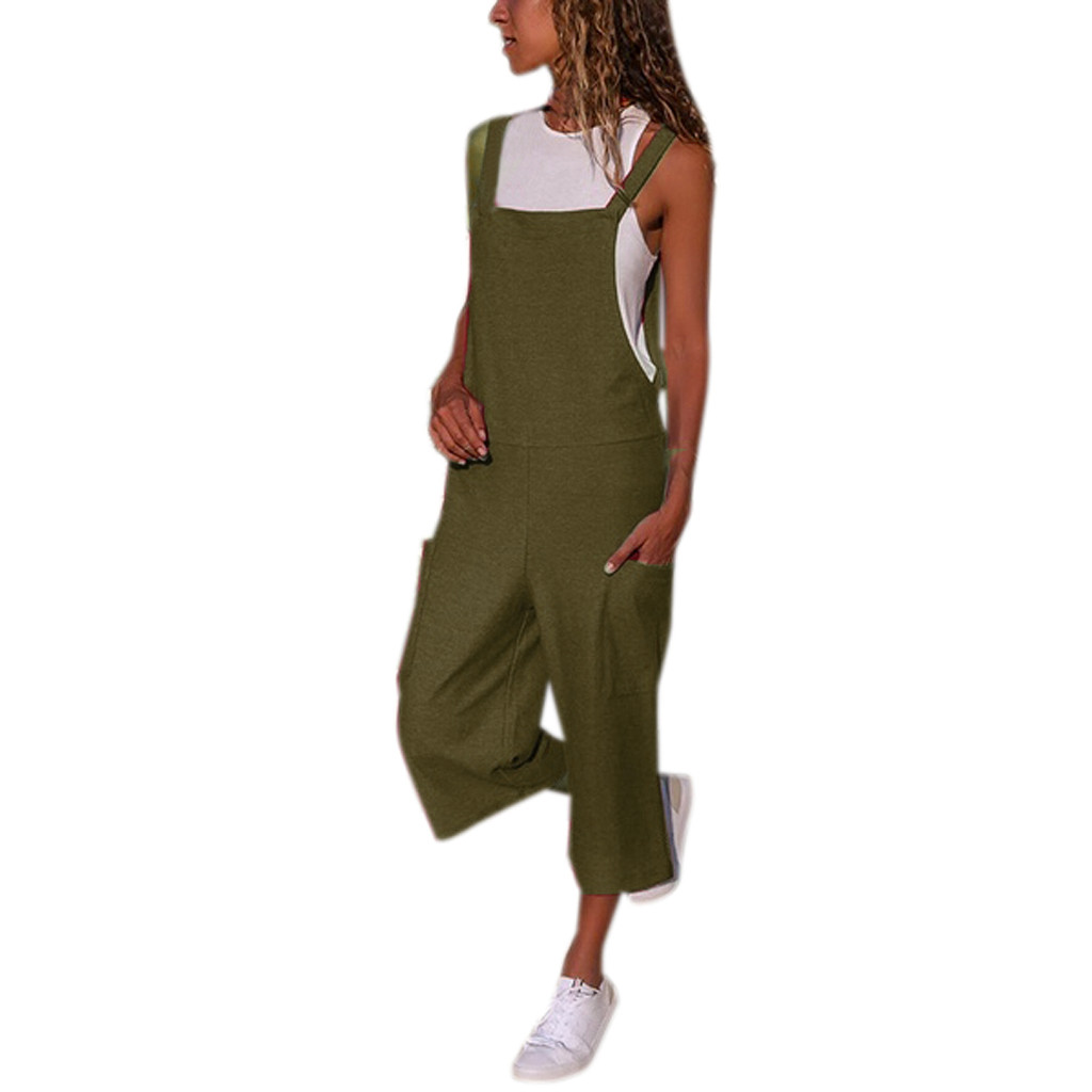 WOMAIL Women Sleeveless Dungarees Loose Cotton Linen Long Playsuit Party   Jumpsuit   Casual Pockets Solid Army green   Jumpsuit   30513