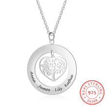 Personalized Tree of Life 925 Sterling Silver Necklaces & Pendants Fashion Family Jewelry Custom Name Engagement Gift for Women